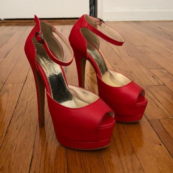 Red Platform Peep Toe Heels